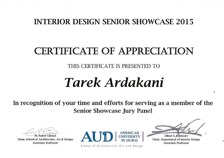 A certificate of appreciation was awarded to Tarek Ardakani - certificate of appreciation words