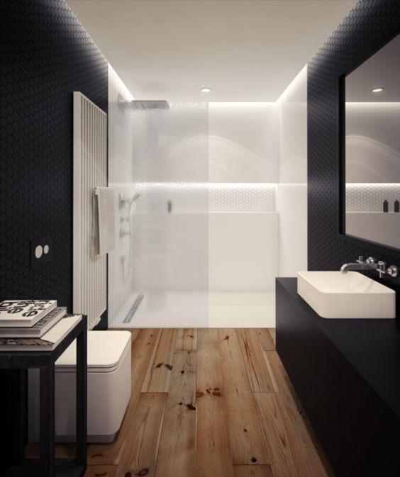 Madera + Blanco + Negro: Acierto seguro para tu baño este 2016