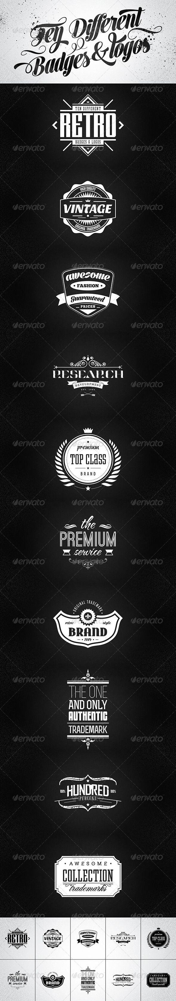Shirt jack design template - 10 Retro Badges Logos Vol 2