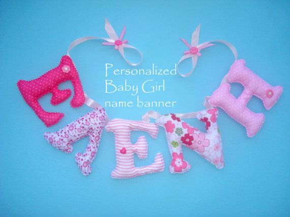 Personalized name Banner fabric letters by LittleFairyCottage