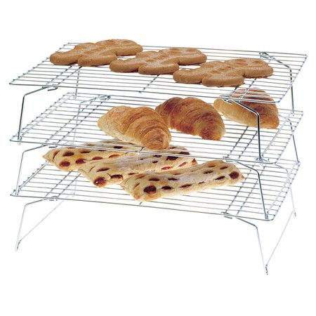 Three-tier steel cooling rack.   Product: Cooling rack Construction Material: Steel Color: Chrome