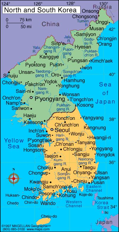 map of north korea and south korea - Google Search