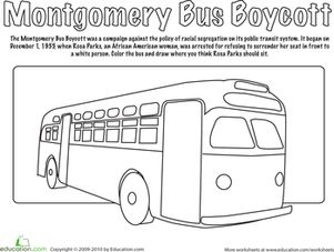 Montgomery Bus Boycott Coloring Page Seasons Rosa Parks