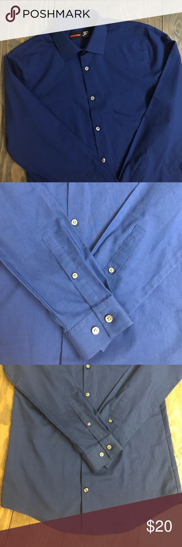 Men's Slim Fit Dress Shirt Men's slim fit shirt only worn once for prom. 55% cotton 45% polyester. Beautiful blue color! Includes extra buttons. Non-smoking non-pet home. Purchased from Macy's. J. Ferrari Shirts Dress Shirts