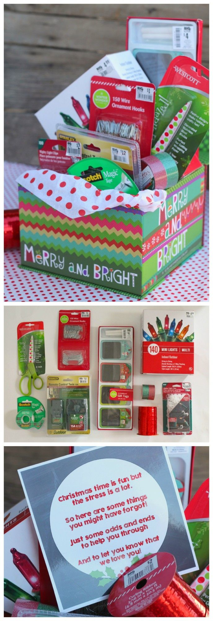 fun gift idea for neighbors and friends tape *wrapping paper *lights *ribbon *ornament *hooks *extension cords *tags *scissors