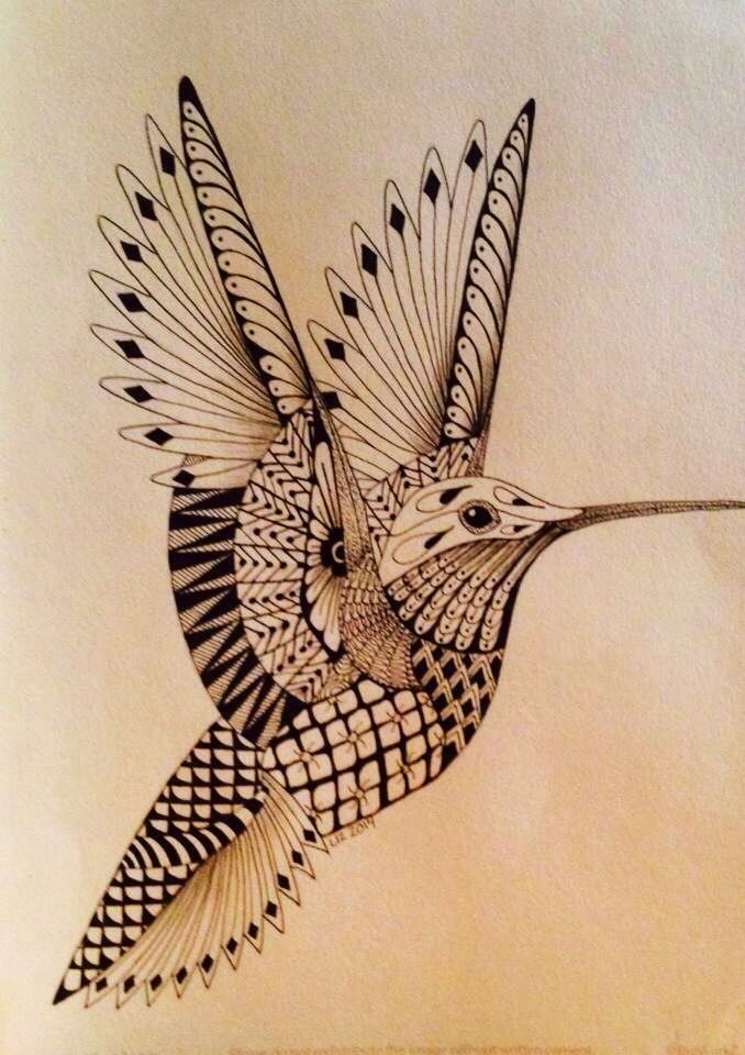 Zentangled hummingbird, template thanks to Ben Kwok!!!!