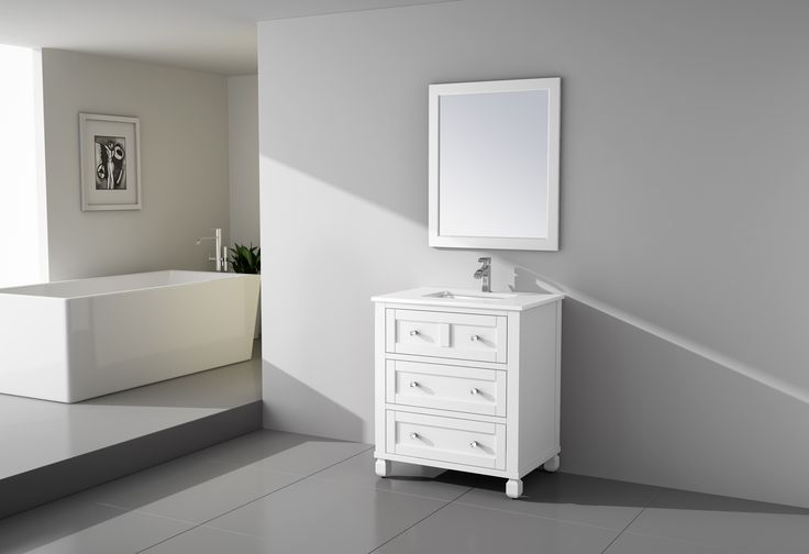 """Virta Hampton Freestanding 30"""" Vanity in White. Simple elegance with a transitional style that brings contemporary and traditional design together in perfect harmony. The bathroom vanity set features straight crisp lines of modern decor, polished chrome hardware with crystal knobs, and fully concealed soft closing doors keeping true to a minimalist shaker design. Constructed of solid wood and finished in walnut or white."""