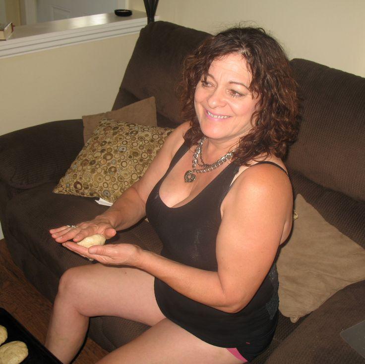 Michele making homemade hamburger buns.