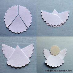 Super simple angel. Cut a circle out using fancy scissors. Cut it in 3 parts using plain scissors. Glue parts together as shown. Cut circle for head using plain scissors. Glue on. Decorate as desired. (would be cute with tiny hole punches in the scallops -- or sequins)