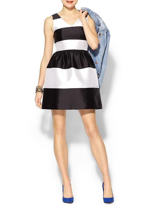 Pim + Larkin Striped Flare Dress - Seeing stripes lately? Turn up the notch on your evening look with this feminine and playful striped dress. #fashion #style #shopping