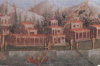 Ville romane lungo la riva del mare - affresco da Pompei