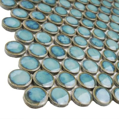 Merola Tile Hudson Penny Round Marine 12 in. x 12-1/4 in. x 5 mm Porcelain Mosaic Floor and Wall Tile (10.2 sq. ft. / case)-FKOMPR33 - The Home Depot