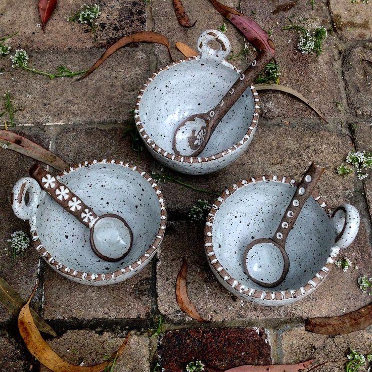 Ruth Fugar, Pottery Artist. Pinchpot bowls and spoons #australianceramics #bowls #spoons #pots #pottery #ceramics #pinchpots #glaze #stoneware #rustic #home #food #props #sydney #glenorie #kitchen #breakfast #texture #white #handmade #australia