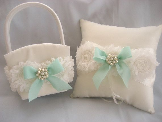 Flower Girl Basket and Pillow  ..  Wedding Ring Pillow .. included  Shabby Chic Vintage Ivory and Cream Custom Colors too