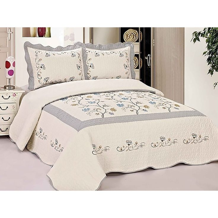 3 Piece Size Light Gray Quilt Bedspread Fully Quilted embroidery Bed cover Shams