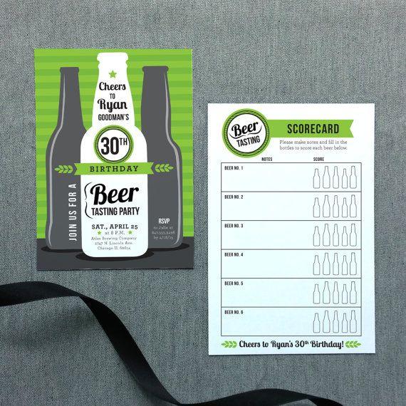 Beer Tasting Birthday Invitation and Tasting by IHartInvitations