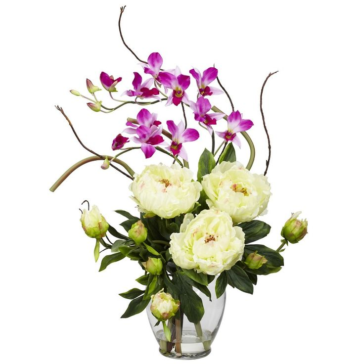 88 best medium silk flower arrangements images on pinterest silk this nearly natural liquid illusion silk peony and orchid floral arrangement features a harmonious collection of lifelike silk flowers in a beautiful glass mightylinksfo