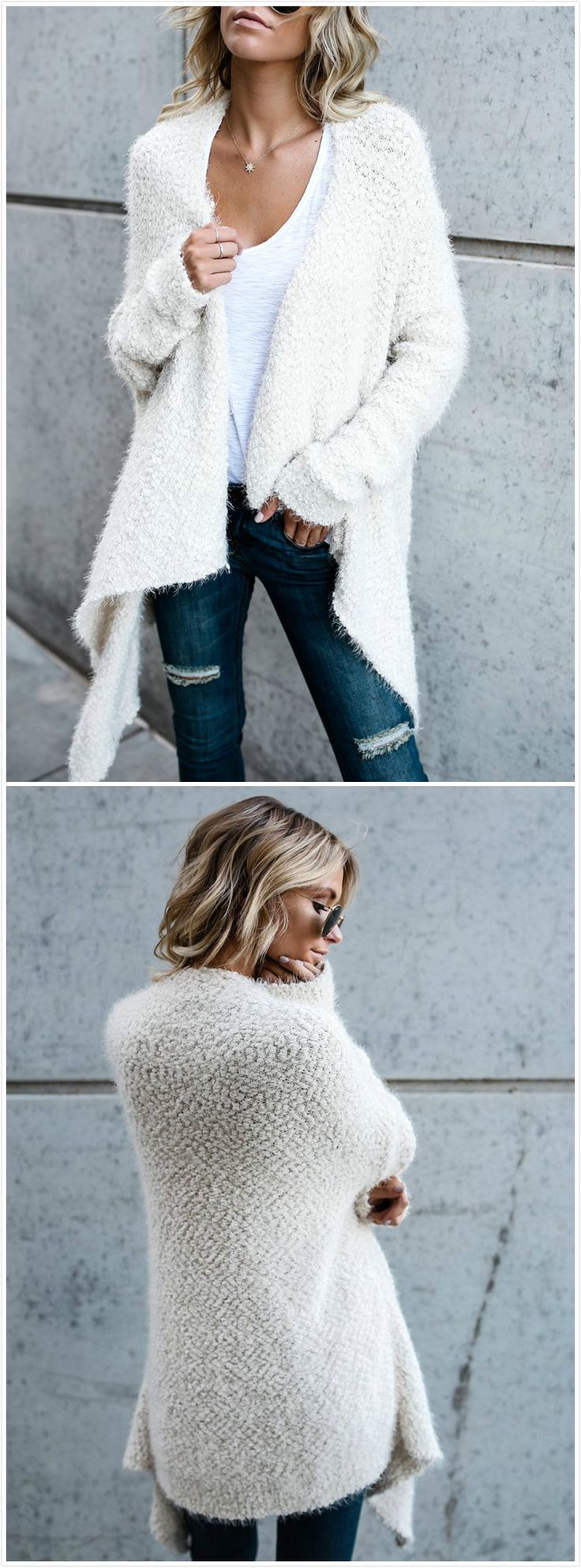 White fuzzy sweater