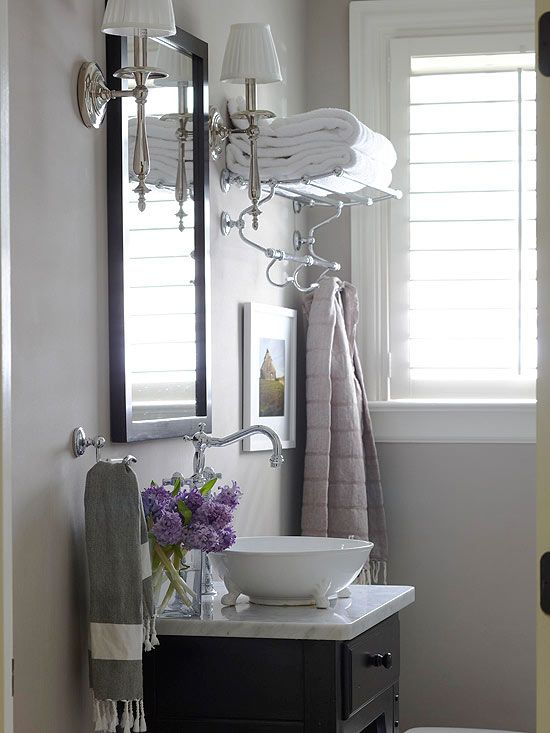 109 best powder room images on pinterest bathroom for Limited space bathroom ideas