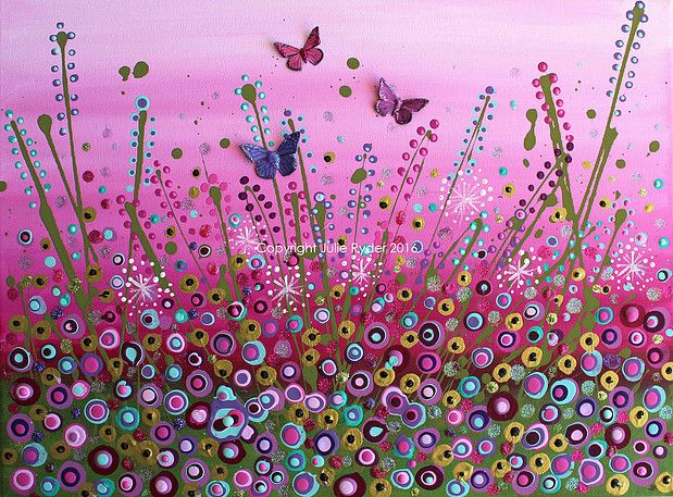 Julie Ryder Mixed Media Artist | Mixed Media Gallery - 2016 and available to purchase 12 x 16 - 'Whispers in the Meadow'♥•♥•♥