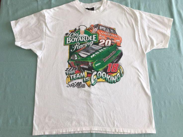 Chef Boyardee Bobby Labonte Tony Stewart NASCAR Racing White T-Shirt Sz XL #ChaseAuthentics #GraphicTee