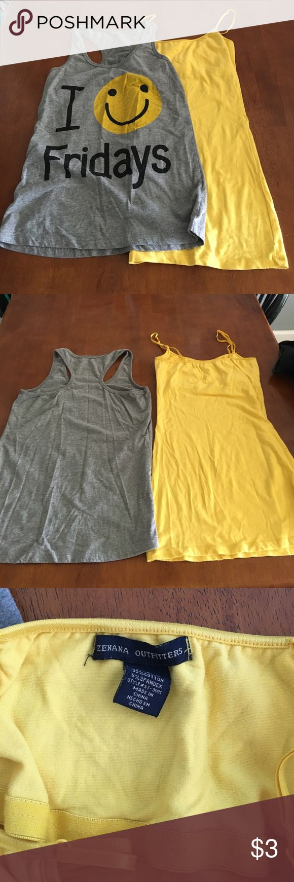 Pair of tanks - yellow cami & gray racerback small Cute tanks can be worn separate or together to make the yellow smiley face pop. Like if you 🤗 Fridays! Forever 21 Tops Tank Tops