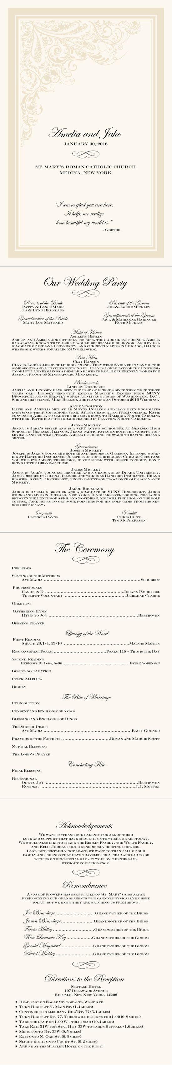 Catholic wedding ceremony layout