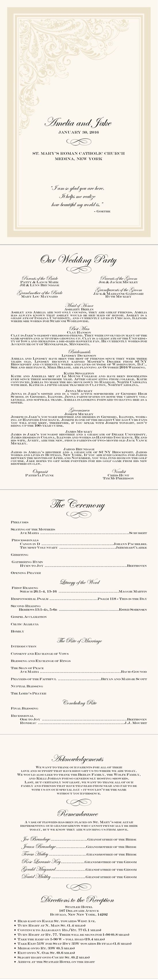 Catholic wedding ceremony layout- cut down for 1/2 mass version