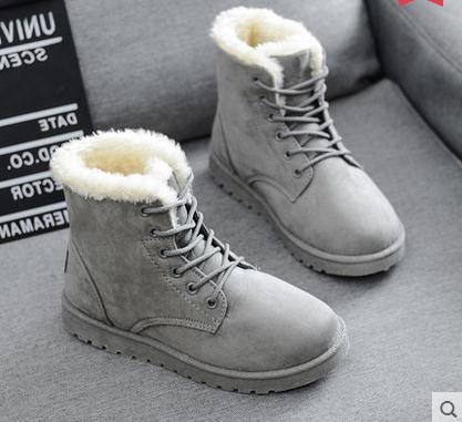 Зимние ботинки снегоступы женщин хлопка - мягкие туфли женская обувь плоским пятки плюс бархат утолщение короткая скраб шнуровкой