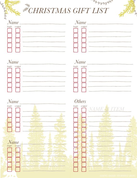 Free Printable Christmas Gift List Template Gallery - Template