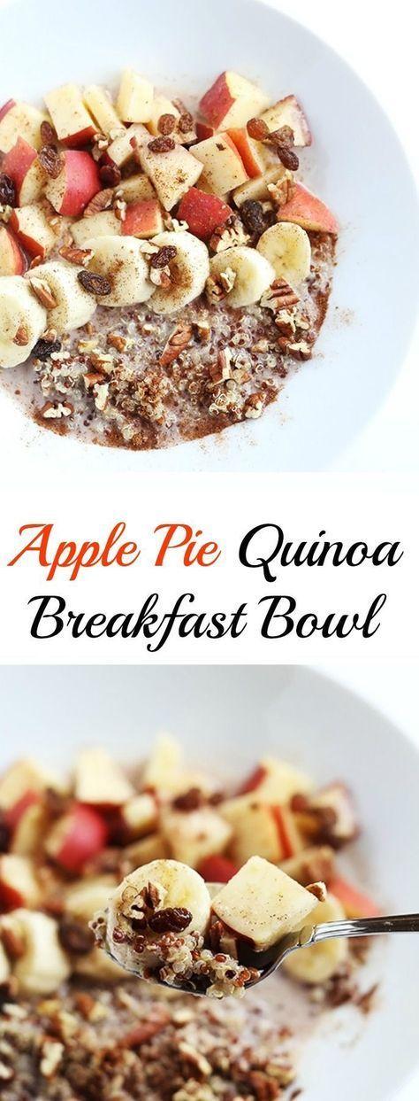 Diese Apfelkuchen Quinoa Frühstücksschale ist warm und lecker! Zimt und Äpfel …   – All Things Vegan