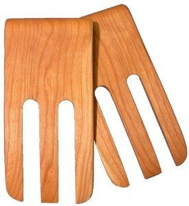 """6"""" Salad Fingers (Bear Claws) - Cherry by Brentwood Mills. $12.99. With simple care will last a lifetime. Handmade wooden Salad Servers - Cherry. Food Safe. Green and Environmentally Friendly. Made in US. Beautiful and increasingly rare 6"""" wooden (Cherry) utensils made almost entirely by hand in accordance with old traditions by one of the finest remaining craftsman in the US. Green & environmentally friendly. Made from renewable resources. Completely Food Safe..."""