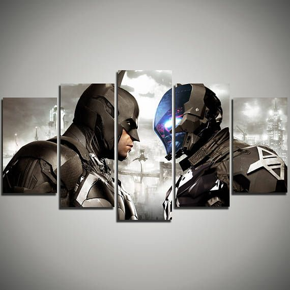 Batman Arkham City extra large art - DC Comics large canvas print - Batmobile art canvas - Arkham Knight gift for kids - 5 panel canvas 177…