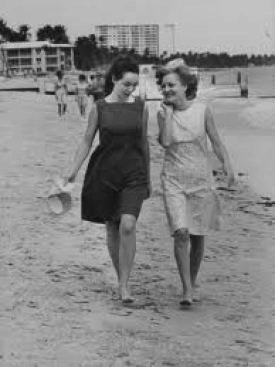 Julie Nixon Eisenhower and her mother Pat Nixon were snapped as they strolled along the beach at Miami.