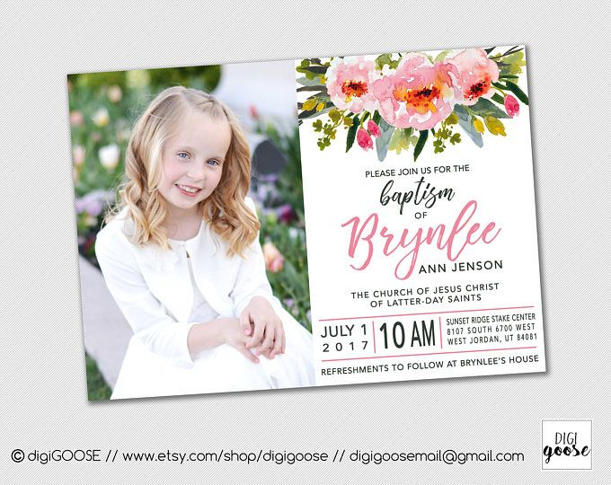 BAPTISM invitation // Baptism announcement // LDS baptism // LDS Girl Baptism invitation // Personalized // Printable // Floral Baptism
