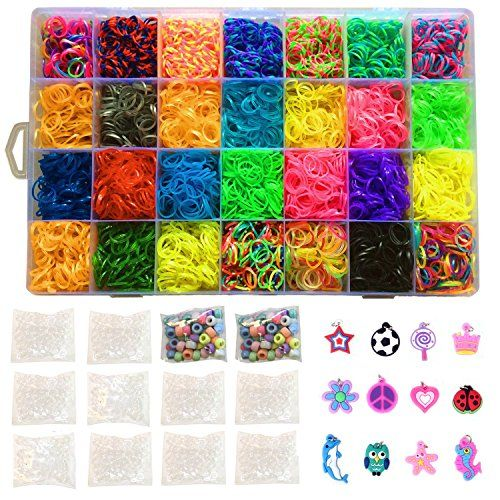 Kiserena Loom Band Refill Kit - Includes 7000 Rainbow Rubber Bands in 28 Different Colors, 350 S Clips, 12 Charms, 100 Beads and Mega Organizer Case - Perfect Christmas Gift for Kids * Details can be found at