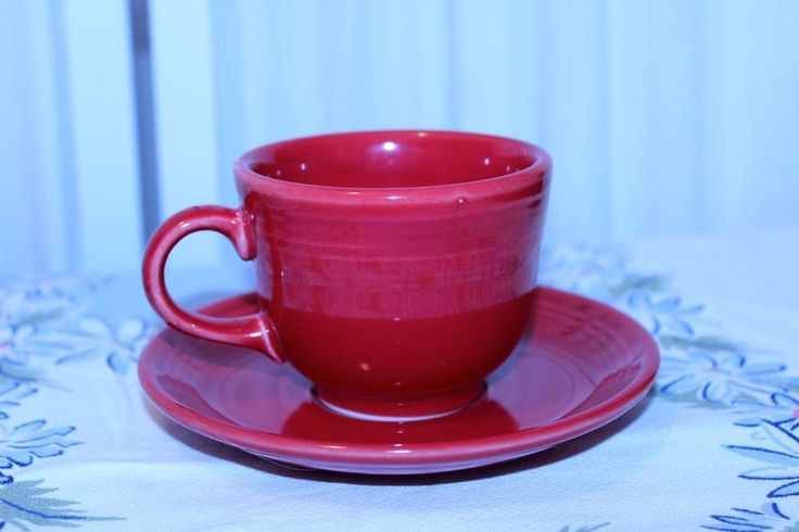 Fiesta p86 Paprika Red Contemporary Teacup and Saucer Set Fiestaware #Fiesta