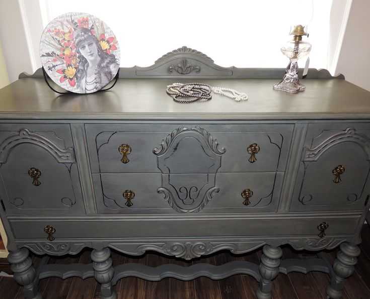 Sideboard Finished in Chalk Paint ™ by Annie Sloan. Mix of Chateau Grey (70) and Graphite (30)