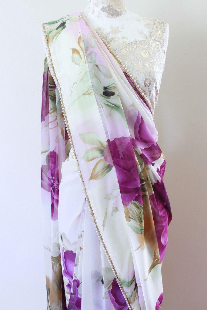 Romantic Purple Floral Saree from Poppylane.ca