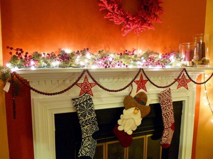 Decoration, Amazing White Fairy Lighting Paired With Christmas Mantel  Decorating Idea Also Orange Wall Paint