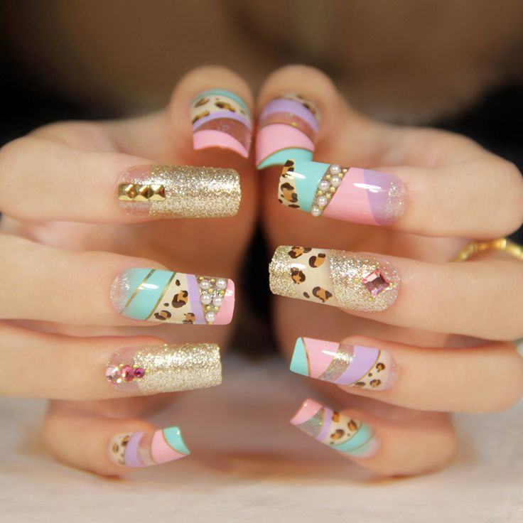 New 2013 fashion leopard glitter gold color japanese 3d full cover long design false nails free shipping  05 $10.90