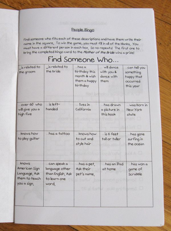 Scavenger hunt/bingo for kids table ( the teens and pre teens have iphone so they could take photos) via offbeat bride