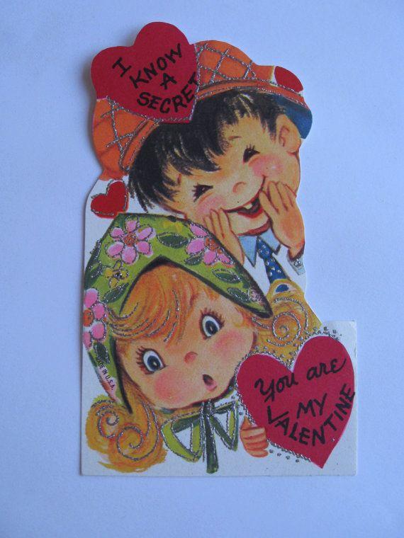 Valentine card I Know A Secret Card 60s flower by TrulyMeVintage