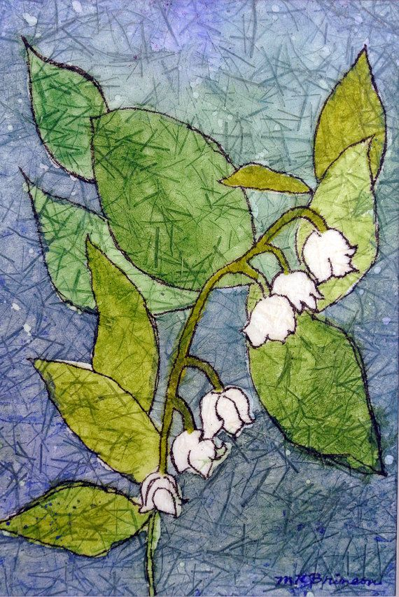 Original watercolor batik painting Sweet Lily of the Valley Muguet des Bois DOUBLE matted 11x14 nature art floral artwork home decor on Etsy, $53.48 CAD