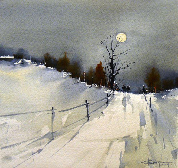 Corneliu Drăgan-Târgoviște (Romanian, b. 1956, Bucharest, Romania) - Peisaj Rural, 2014 Paintings: Watercolors