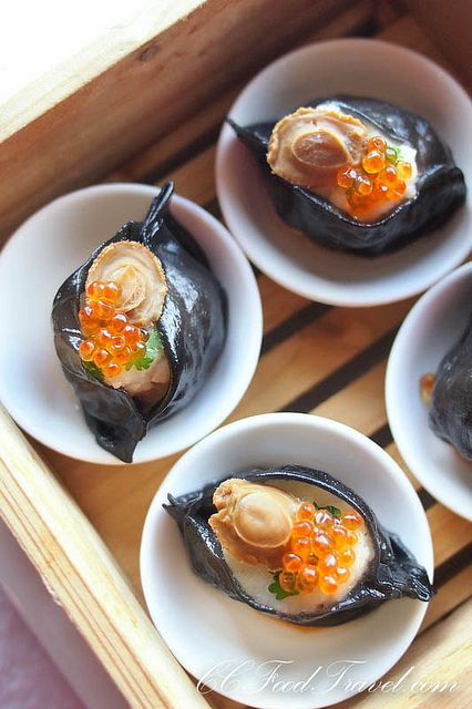 Squid Ink Scallop Dumpling topped with Salmon Roe (Dimsum Unlimited)