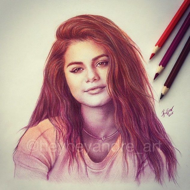 Selena Gomez  -  Artwork by: @HeyHeyAndre_Art by artpostdaily