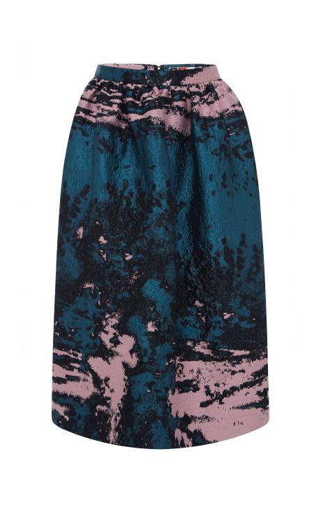 Woodgrain Cloque Gathered Waist Skirt by MSGM - Moda Operandi