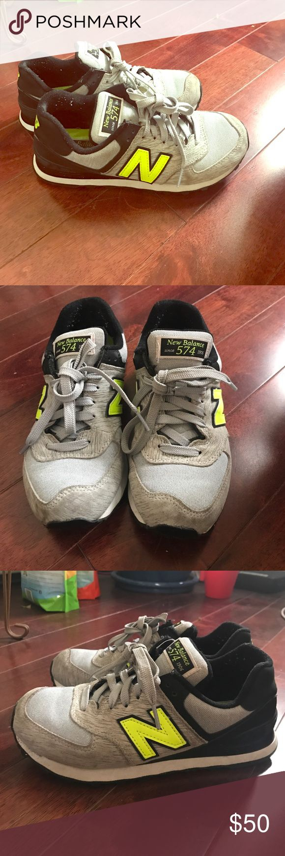 New Balance Gray and Neon Sneakers Pair of New Balance 574 sneakers. Gray with neon N. In good condition. May require some polishing. New Balance Shoes Sneakers