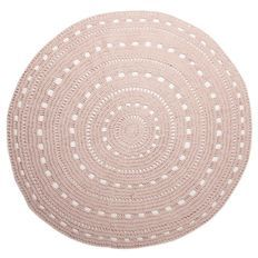 Living & Co Rug Valencia Cotton Crochet Round Blush- 1.5 Metre- option for one of the girls bedrooms